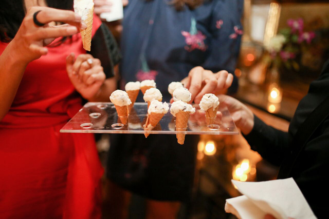 housemade gluten-free cones topped with mint chip ice cream | A Gluten-Free Gala | Marcey Brownstein Catering & Events