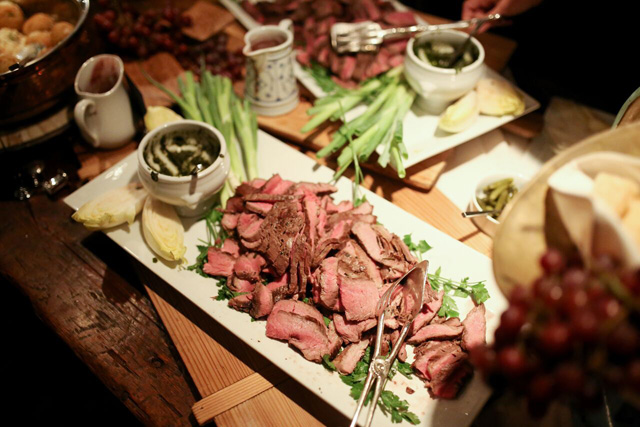 grilled marinated flank steak with pesto and red wine jus | A Gluten-Free Gala | Marcey Brownstein Catering & Events